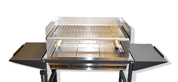 MODEL PRESIDENT: Professional BBQ charcoal grill or wood 304 stainless steel and powder coated steel.